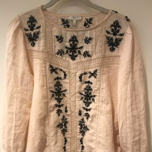 Jorie Embroidered Cream Blouse